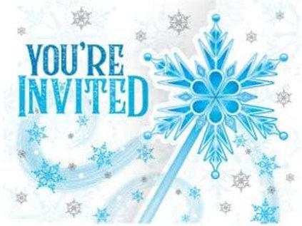 Snow Princess Birthday Party Decorations, Snowflake Design Gatefold Party Invita