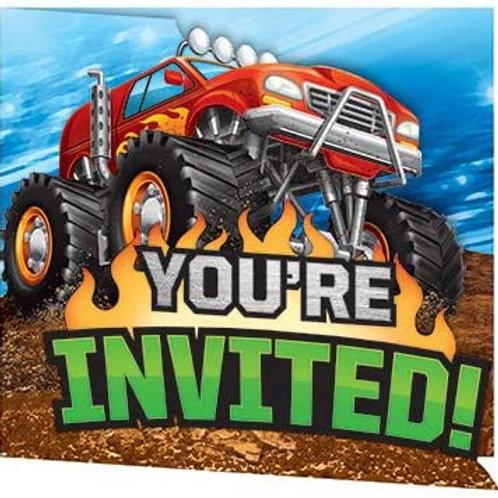 Monster Truck Rally Birthday Printed Gatefold Party Invitations, Box of 48