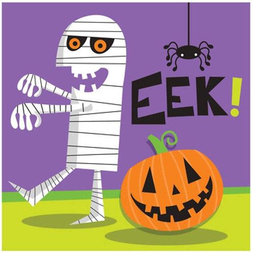 "Pack of 192 Creepy Character Multicolor Halloween""EEK"" 2-Ply Beverage Napkins 5"""