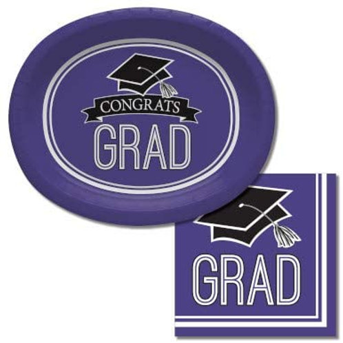 Baxters Bundle Graduation Party Supplies, Purple Color Oval Platter and Luncheo