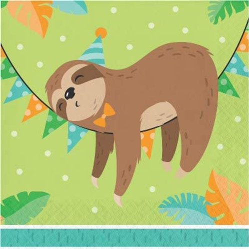 Sloth Birthday Party Supplies, Baby Sloth Birthday Party Printed Luncheon Napki