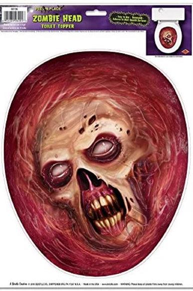 Beistle Club Pack of 12 Zombie Head Toilet Topper Peel 'N Place Halloween Decor