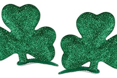 Pack of 24 Green St. Patrick's Day Glittered Shamrock Hair Clip Party Favor Cos