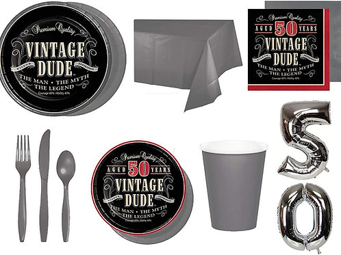 Baxters Party Bundle Bulk, Vintage Dude 50th Birthday Stacked 32 People, 2 Size