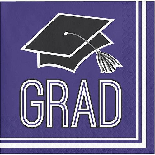 360 Count School Spirit Paper Beverage Napkins for Graduation Party, Purple