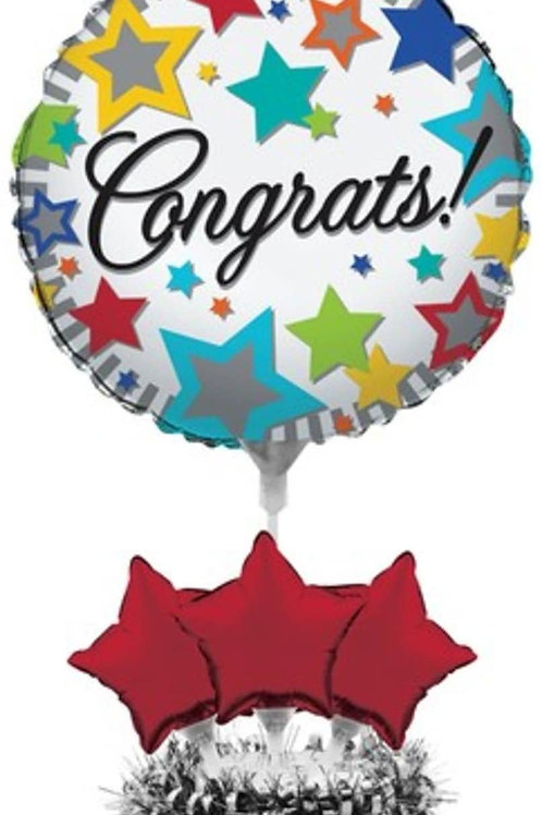 Pack of 4 Multi-Colored Stars Congrats Foil Graduation Party Balloon Centerpiec