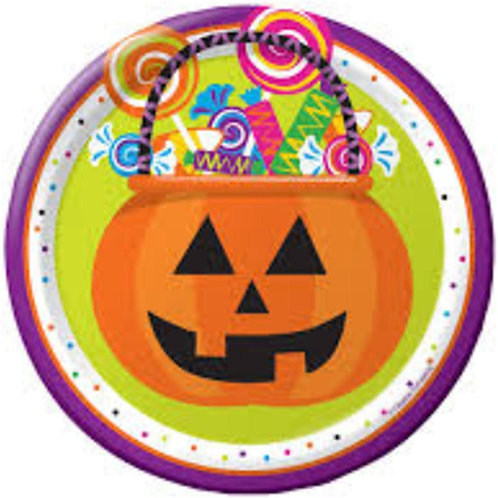 "Pack of 96 Gone Batty Multicolor Halloween Pumpkin Treat Bucket Lunch Plates 7"""