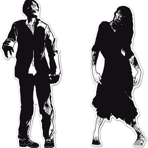 Beistle Pack of 24 Black & White Double Sided Eerie Zombie Silhouette Halloween