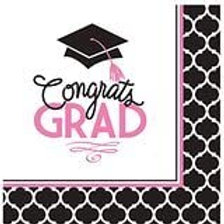 """Club Pack of 360 Glamourous Grad Pink and Black""""Congrats Grad"""" 2-Ply Lunch Napk"""
