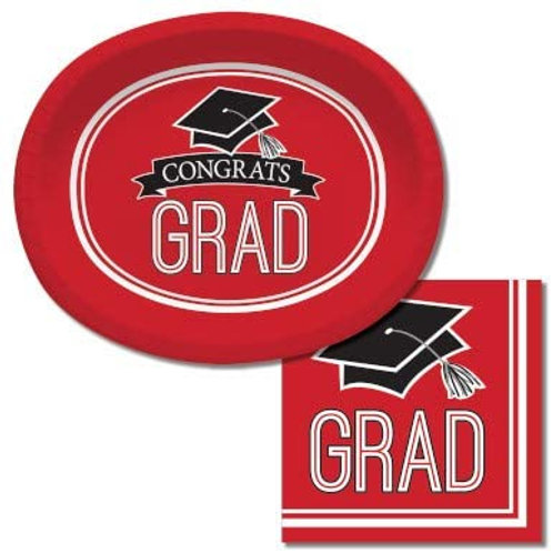 Graduation Party Supplies, Red Color Oval Platter and Luncheon N