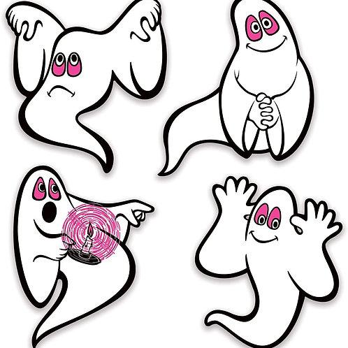 Beistle Halloween Decorations Party Favors, Vintage Halloween Ghosts Peel n Pla