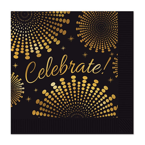 """Party Central Club Pack of 12 Black and Gold 'Celebrate' Graduation Napkins 5"""""""