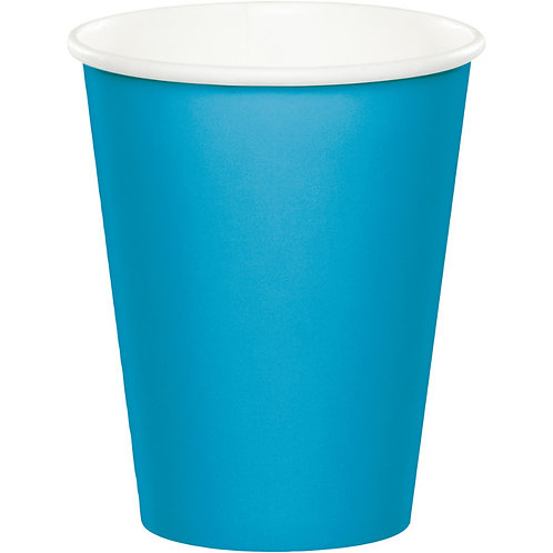 Club Pack of 240 Tropical Turquoise Blue Disposable Paper Hot and Cold Drinking