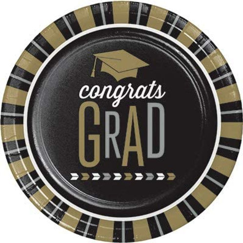 Graduation Party Glitzy Grad 7in Printed Round Pap