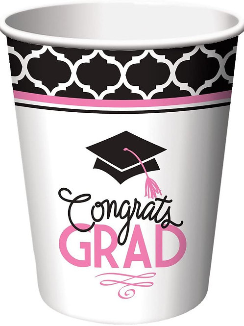 Club Pack of 216 Glamorous Grad Disposable Paper Hot and Cold Drinking Graduati
