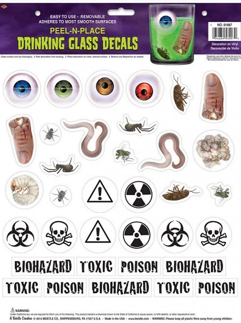 Club Pack of 420 Disturbing Peel 'N Place Drinking Glass Decals Halloween Decor