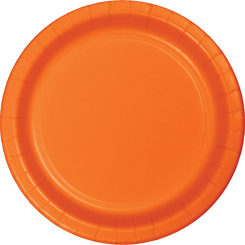 """Sunkissed Orange Disposable Paper Party Luncheon Plates 7"""""""