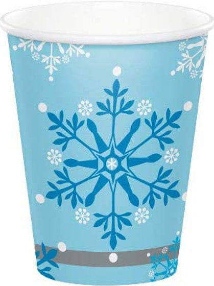 Snow Princess Birthday Party Decorations, Snowflake Design 9 Ounce Paper Cups,