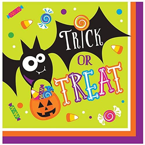 """Pack of 192 Gone Batty Multicolor Halloween""""Trick or Treat"""" 2-Ply Lunch Napkins"""
