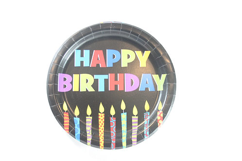 """7"""" Happy Birthday Plate w/candles 50ct $1.00"""