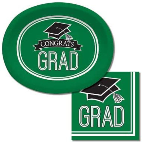 Baxters Bundle Graduation Party Supplies, Green Color Oval Platter and Luncheon