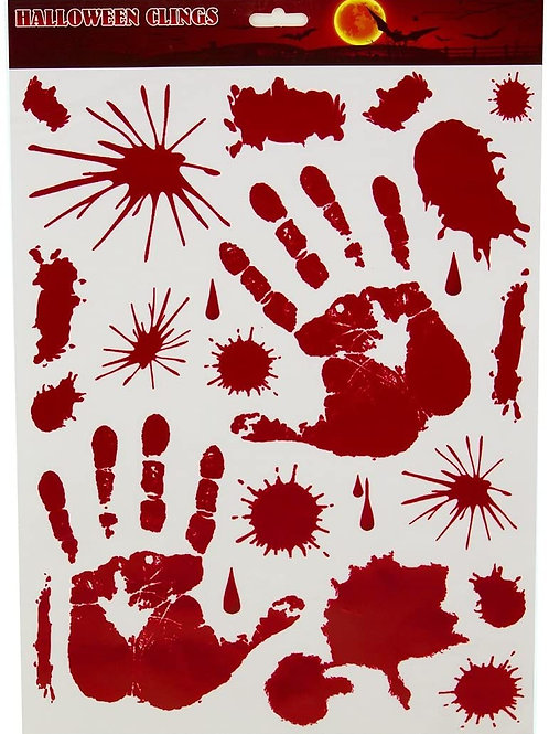 Pack of 264 White and Red Spooky Bloody Hand Print Halloween Window Cling Decor