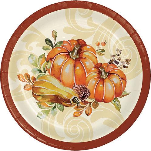 Creative Converting Autumn Wreath, 7 Inch Round Paper Plates, Box of 96