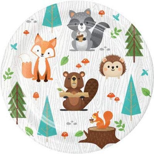 Woodland Animal Creatures Party Supplies, Wild One Birthday 7 Inch Round Paper