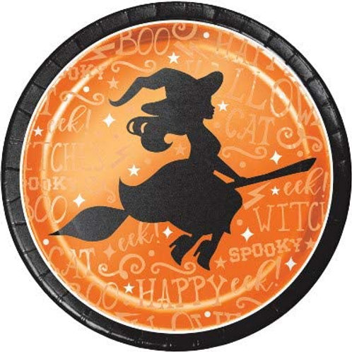 Halloween Party Decorations, Wicked Witch Theme Foil Printed 9 Inch Round Paper
