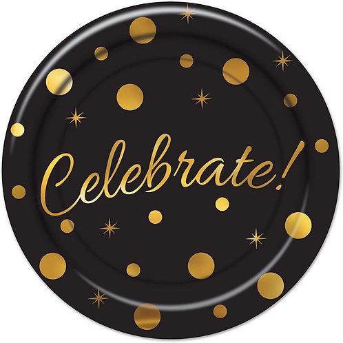 Black and Gold 'Celebrate' Graduation Plates Deco