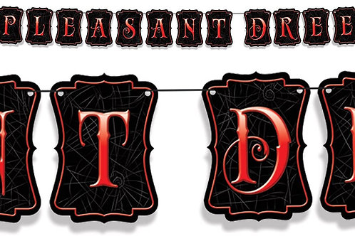 Pack of 12 Elvira's Unpleasant Dreemz Halloween Strung Pennant Banner 10'