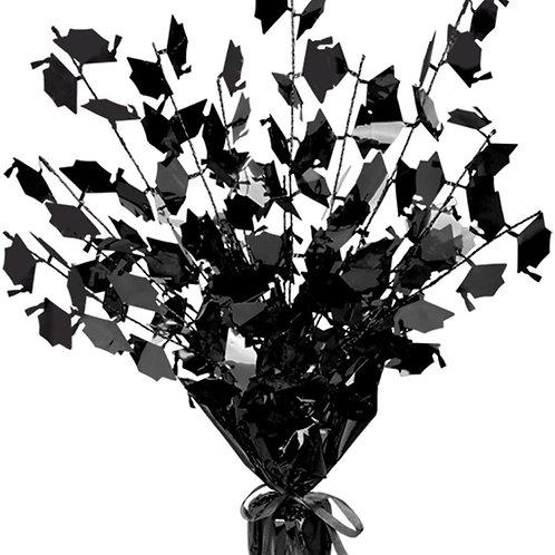 "Club Pack of 12 Black Foil Spray Graduate Cap Gleam 'N Burst Centerpieces 15"""