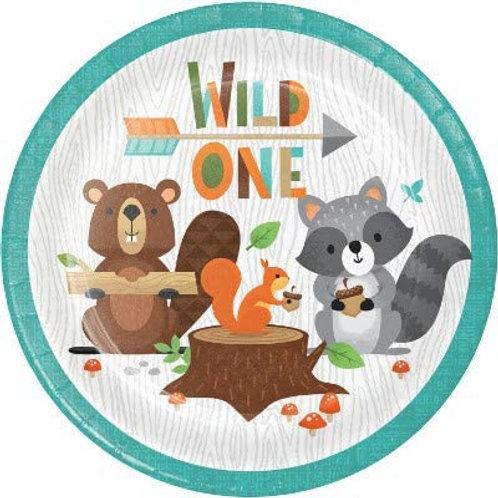 Woodland Animal Creatures Party Supplies, Wild One 1st Birthday 7 Inch Round Pap