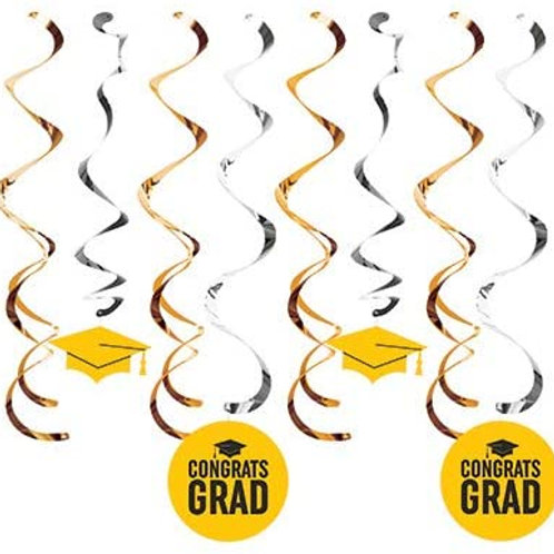 Graduation Party Decoration Yellow School Color Deluxe Assorted Whirls, Box 96 H