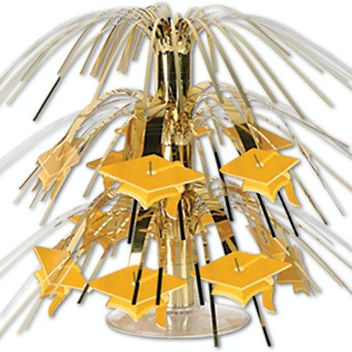 Club Pack of 12 Metallic Gold Grad Cap Mini Cascade Centerpiece Party Decoratio