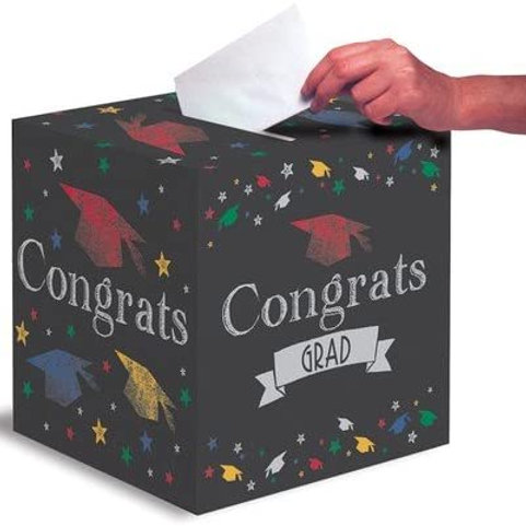 Pack of 6 Multi-Colored Chalkboard Congrats Grad Graduation Day Party Card Boxe