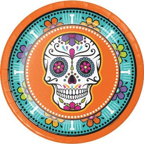 Halloween Party Decorations, Day of The Dead Theme Printed 9 Inch Round Paper Pl