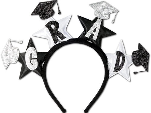 Club Pack of 12 Black and White Glittered Grad Headband Party Favors
