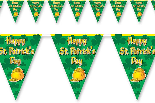 Beistle Happy St. Patricks Day Pennant Banner, Printed Plastic Flag Banner Indo