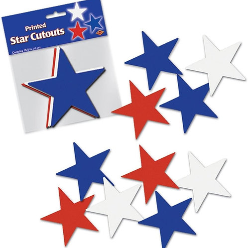 """Club Pack of 240 Red, White and Blue Patriotic Star Cutout Party Decorations 5"""""""