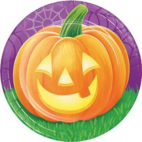 Halloween Party Decorations, Pumpkins Theme Printed 7 Inch Round Paper Plates, B