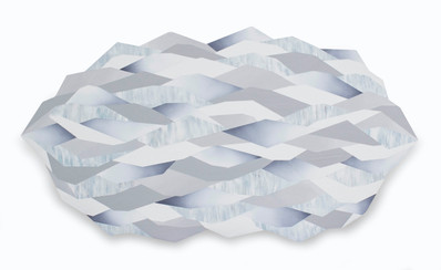 Crystal reflections 3, acrylic on shaped canvas, 120x65 cm, 2019
