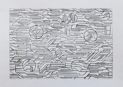 Elements in movement 1, dry-point, 29,5x20,5cm, 2017