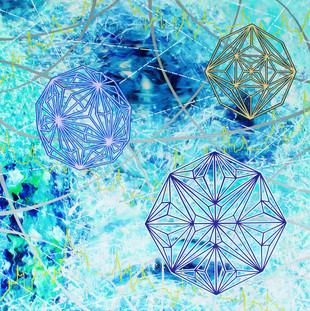 Creation is geometry, acrylic on canvas, 100x100cm, 2018