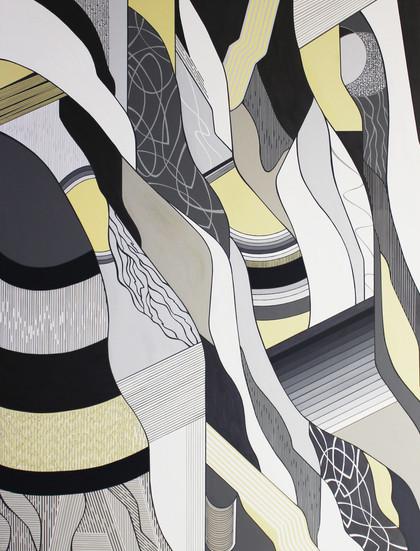 Dynamic shapes, acrylic on canvas, 250x190cm, 2018