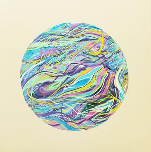 Spirals of sound, 70x70cm, acrylic on canvas, 2018