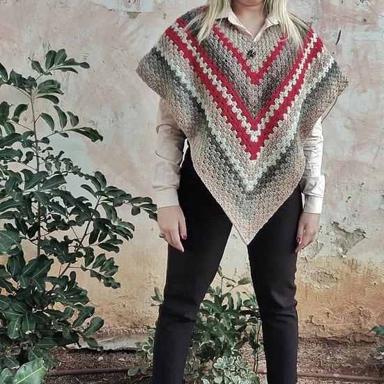 Crochet poncho - Handmade Poncho Holiday Gift פונ'צו עבודת יד