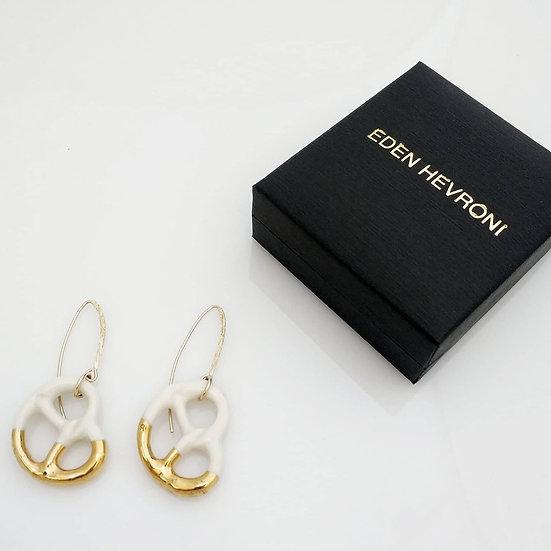 Porcelain Pretzel Earrings Eden Hevroni Holiday Gift שרשרת בייגלה