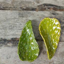 Cactus Leaf sculpture in ceramic ,Bi