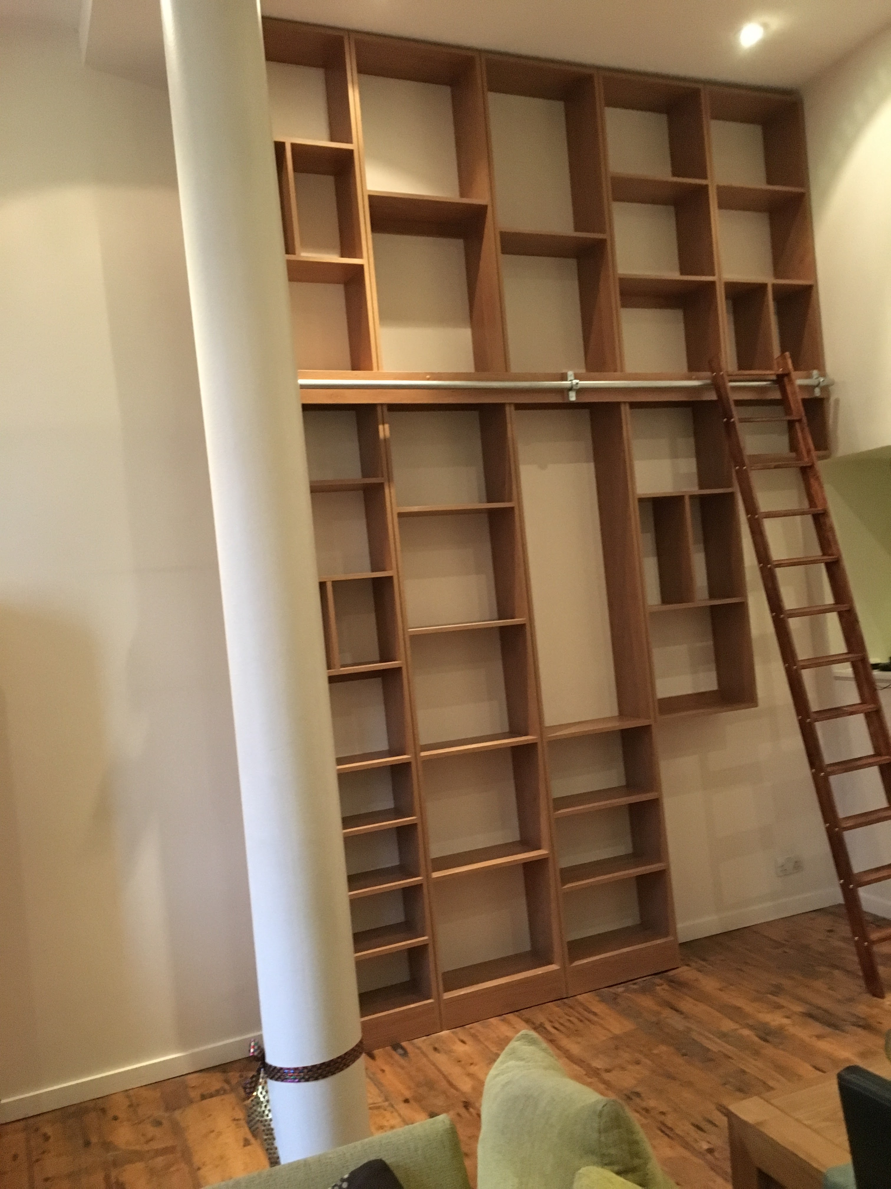 14 ft high library shelves with ladder